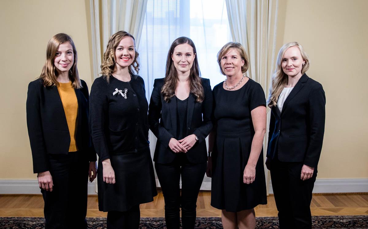 Finlanda qeveriset nga pesë parti, të gjitha të drejtuara nga gra