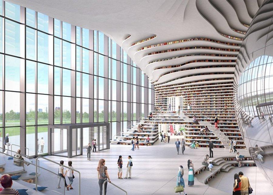 Biblioteka kineze prej xhami përmban 1,2 milionë libra në murin e valëzuar